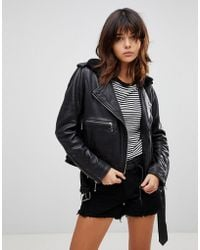 Muubaa - Guilia Shearling Leather Biker Jacket - Lyst
