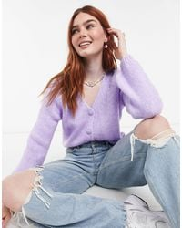 ONLY Knitted Cardigan With Balloon Sleeve - Purple