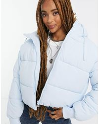 Monki Amber Recycled Short Padded Jacket With Hood - Blue