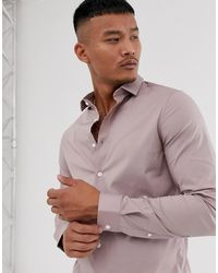 ASOS - Skinny Fit Poplin Shirt In Pink - Lyst