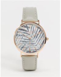 Reclaimed (vintage) Inspired Palm Print Leather Watch-серый