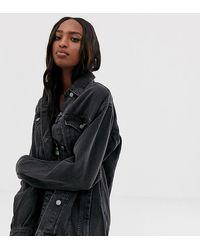 ASOS ASOS DESIGN Tall - Veste en jean style girlfriend - délavé - Noir