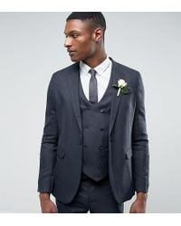 ASOS Asos Tall Wedding Skinny Suit Jacket In Blue Micro Woven Texture