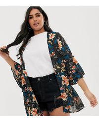 Simply Be Kimono With Frill Sleeves In Tropical Floral - Multicolor