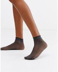 ASOS Glitter Snake Sheer Sock - Gray