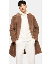 TOPMAN Teddy Borg Double Breasted Coat - Brown