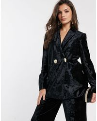 & Other Stories Crushed Velvet Double Breasted Blazer - Black