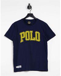 Polo Ralph Lauren T-shirt à large logo sur le devant - Bleu marine croisière