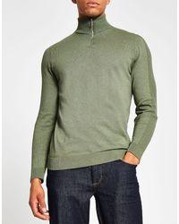 River Island Half Zip Neck Sweater - Green