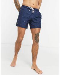 Lacoste Shorts de baño con estampado geométrico de - Azul