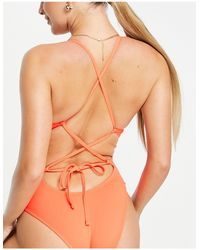 Nike Tie Back Swimsuit - Red