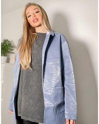 Threadbare Tayla Pu Snake Print Blazer - Blue