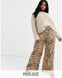 AX Paris Pantalon à imprimé léopard - Rouge - Multicolore