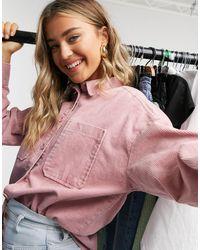 Monki Conny Li Cotton Cord Shirt - Pink