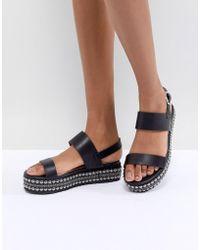 Glamorous - Black Embellished Flatform Sandals - Lyst
