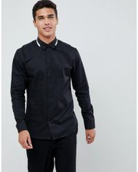 SELECTED - Smart Shirt With Collar Tipping In Slim Fit - Lyst