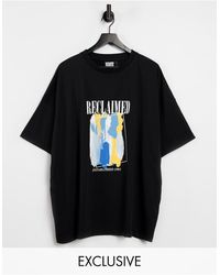 Reclaimed (vintage) Inspired Oversized T Shirt With Art Print - Black
