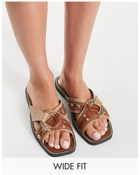 River Island Wide Fit Hardware Crossover Sandals - Brown