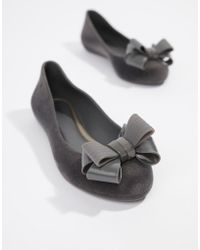 Zaxy Flock Bow Ballerinas - Gray