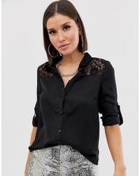Lipsy Lace Shirt - Black