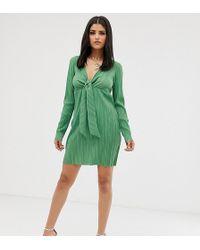 ASOS - Asos Design Tall Mini Knot Plisse Dress - Lyst