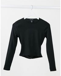 New Look Backless Ribbed Top - Black