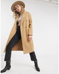 TOPSHOP - Бежевое Классическое Пальто -коричневый - Lyst