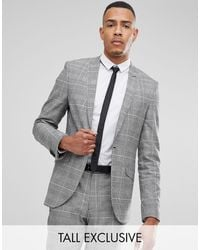 Heart & Dagger Tall Skinny Suit Jacket In Pow Check - Gray