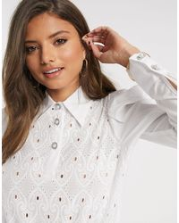 River Island Long Sleeve Broderie Shirt Body - White