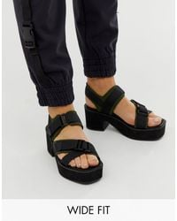 ASOS Wide Fit Ward Chunky Strappy Mid Heeled Sandals - Black
