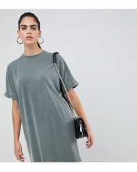 799e775d7c43 ASOS - Asos Design Tall T-shirt Dress With Rolled Sleeves And Wash - Lyst