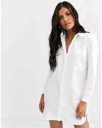 ASOS - Белое Хлопковое Платье-рубашка Мини - Lyst