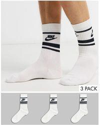 Nike - Набор Из 3 Пар Белых Носков С Черным Логотипом -белый - Lyst