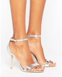 Glamorous - Silver Patent Two Part Heeled Sandals - Lyst