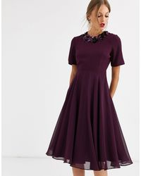 ASOS Crop Top Embellished Neckline Midi Dress-purple