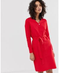 Finery London Elm Belted Dress - Red