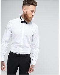 Moss Bros Облегающая Рубашка С Воротником-стойкой Moss London-белый - Многоцветный