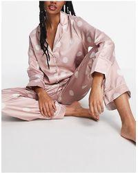 New Look Розовая Атласная Пижама В Горошек -розовый Цвет