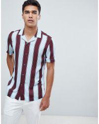 Reiss Camisa de manga corta de corte slim con rayas en bloque de - Rojo