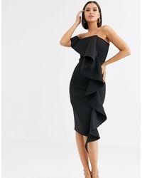 Lavish Alice One Shoulder Bardot Frill Scuba Midi Dress - Black