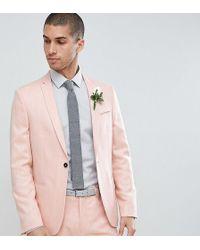 Noak Skinny Wedding Suit Jacket In Crosshatch - Pink