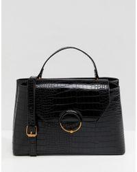 ASOS Croc City Bag With Ring Ball Detail - Black