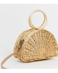 South Beach Exclusive Straw Half Moon Bag With Round Handle And Cross Body Strap - Natural