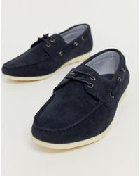 New Look Faux Leather Boat Shoes In Navy - Blue
