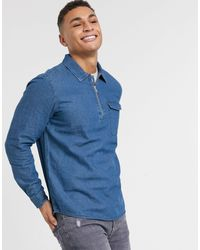 Burton Half Zip Denim Shirt - Blue