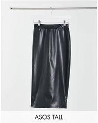 ASOS Asos Design Tall Leather Look Midi Skirt - Black