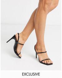 SIMMI Shoes Черные Сандалии С Ремешками И Эффектом Змеиной Кожи Simmi London Exclusive Drew-черный