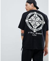 ASOS Oversized T-shirt With Baroque Back Print - Black