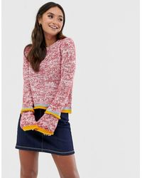 Glamorous Speckled Knit Jumper With Contrast Stripe Detail - Multicolour