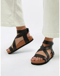 SELECTED - Femme Leather Chunky Flat Sandal - Lyst